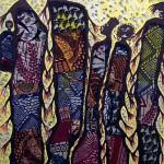 Family Masai,  Acryl, Textilien auf Leinwand, 120 x 80 cm