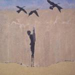 Hunter, Sand, Acrylfarbe auf Leinwand, 80 x 120 cm